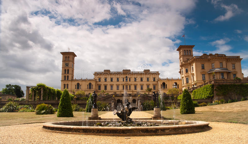 Osborne House, and fountain. Front of Osborne House facing the Solent. Residence oof Queen Victoria royalty free stock photo