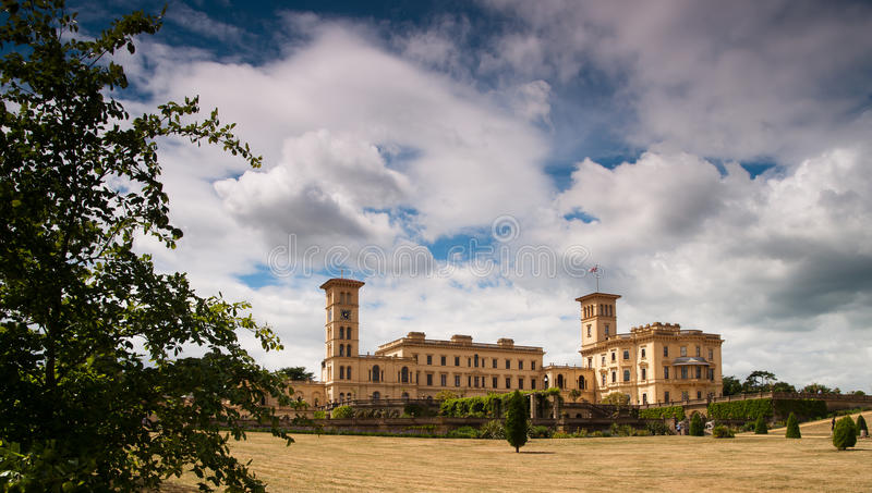 Osborne House, Isle of wight. Front of Osborne House facing the Solent. Residence oof Queen Victoria royalty free stock image