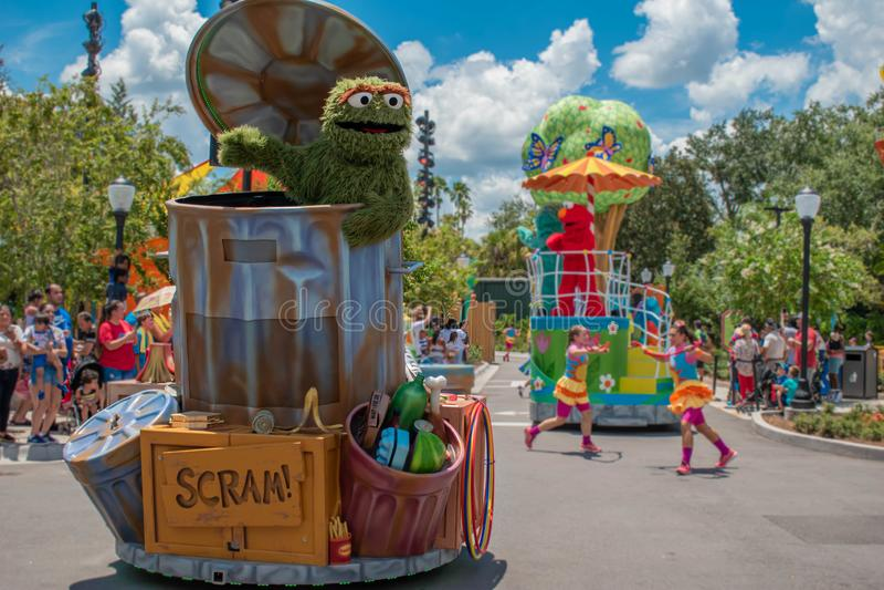 Oscar the Grouch in Sesame Street Party Parade at Seaworld 1. Orlando, Florida. July 30, 2019. Oscar the Grouch in Sesame Street Party Parade at Seaworld 1 stock photo