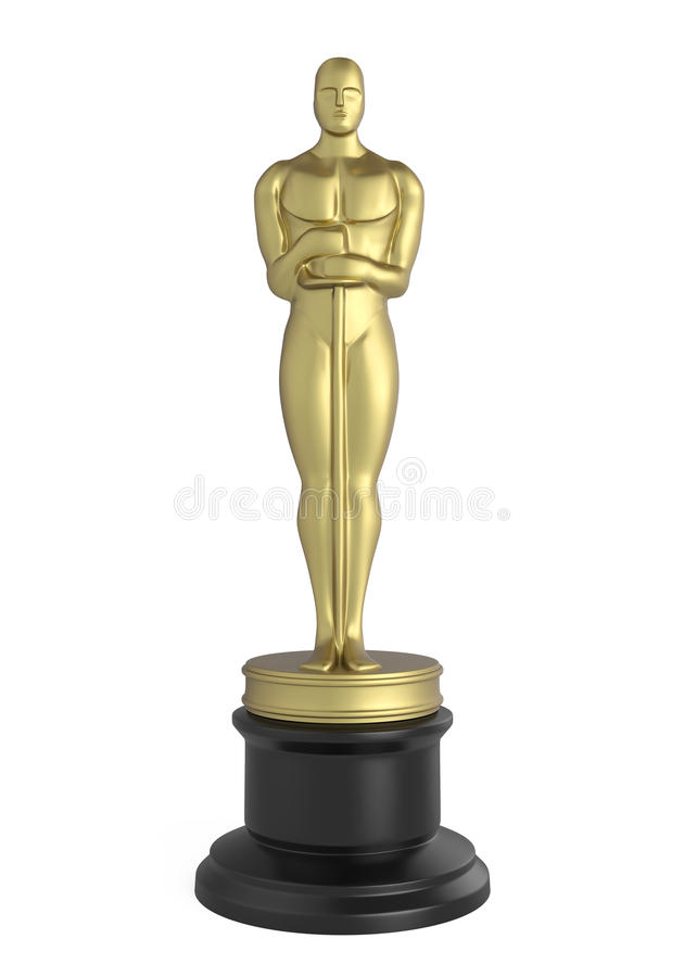 Oscar Statuette Isolated royaltyfri illustrationer