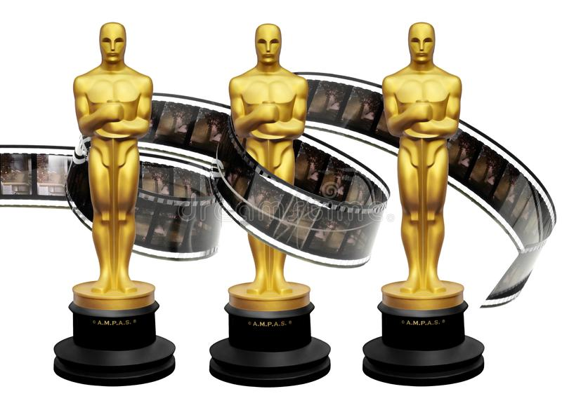 Oscars awards statuettes with movie film stock images
