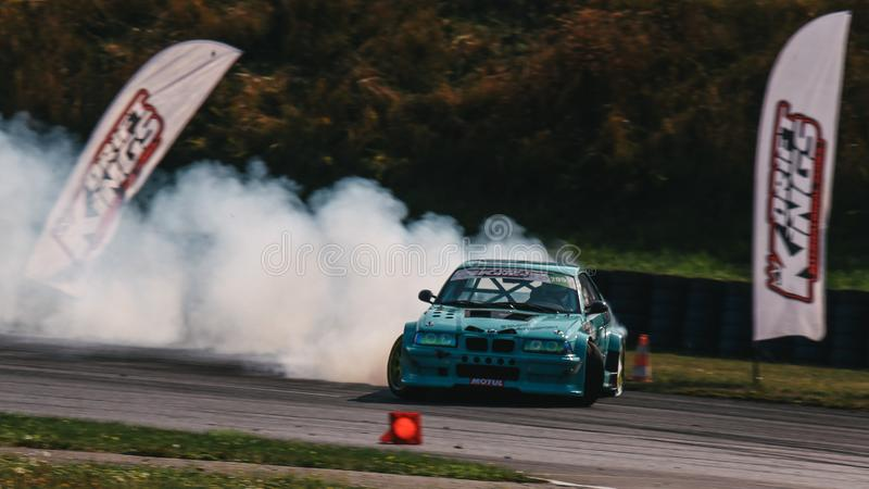 Alexandre Strano driving a BMW E36 M3 Turbo during the Drift Kings International Series royalty free stock image