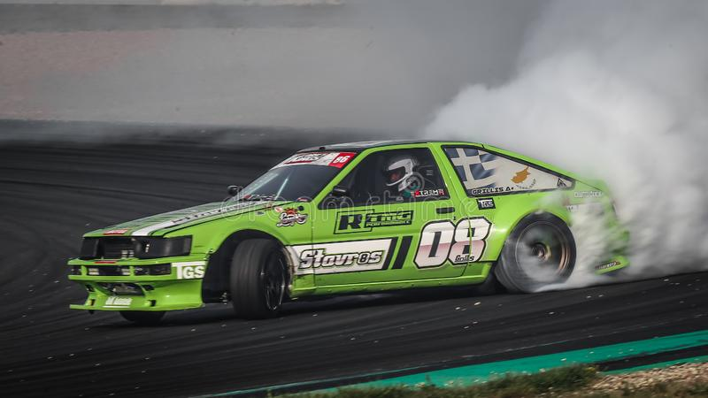 Toyota Corolla AE86 during the Drift Kings International Series at Motorsport Arena. Oschersleben, Germany, August 30, 2019: Greek racing driver Stavros Grillis royalty free stock photography