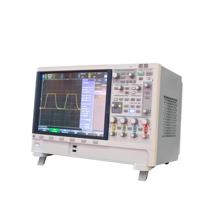Oscilógrafo de Digitas isolado no fundo branco, phaze do analisador 3 do poder imagem de stock