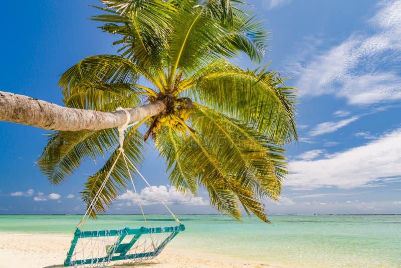 Oscilación de lujo del concepto, de la palma y de la playa de las vacaciones sobre el mar azul hermoso Paisaje tropical para las  fotografía de archivo libre de regalías