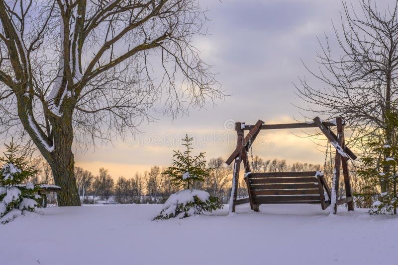 Oscilación de madera cerca del lago, en invierno, paisaje nevoso imagenes de archivo