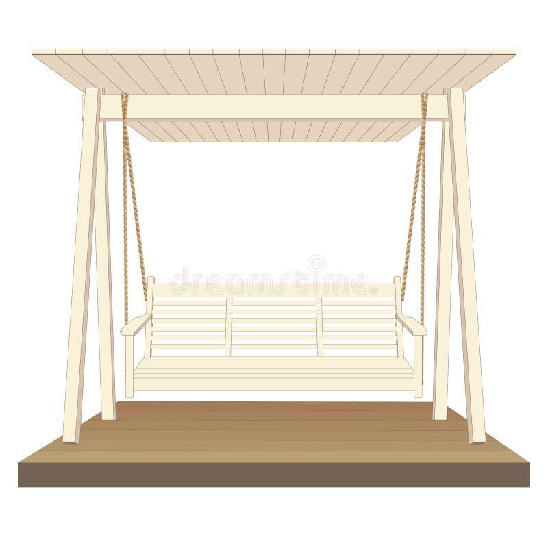Oscilación de madera clásico al aire libre, pintado en el color blanco Ilustración del vector en el fondo blanco stock de ilustración