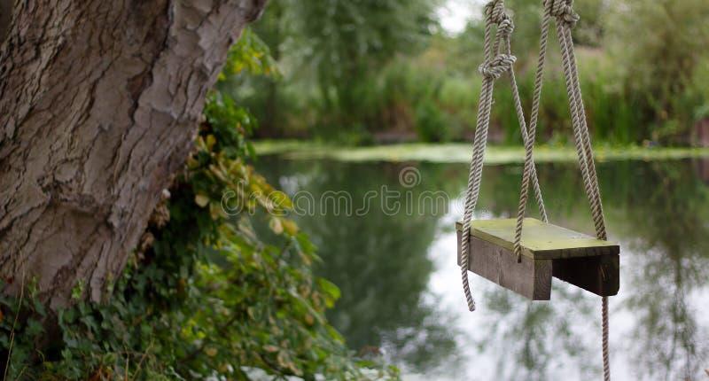 Oscilación de madera de la cuerda por el río imagen de archivo libre de regalías