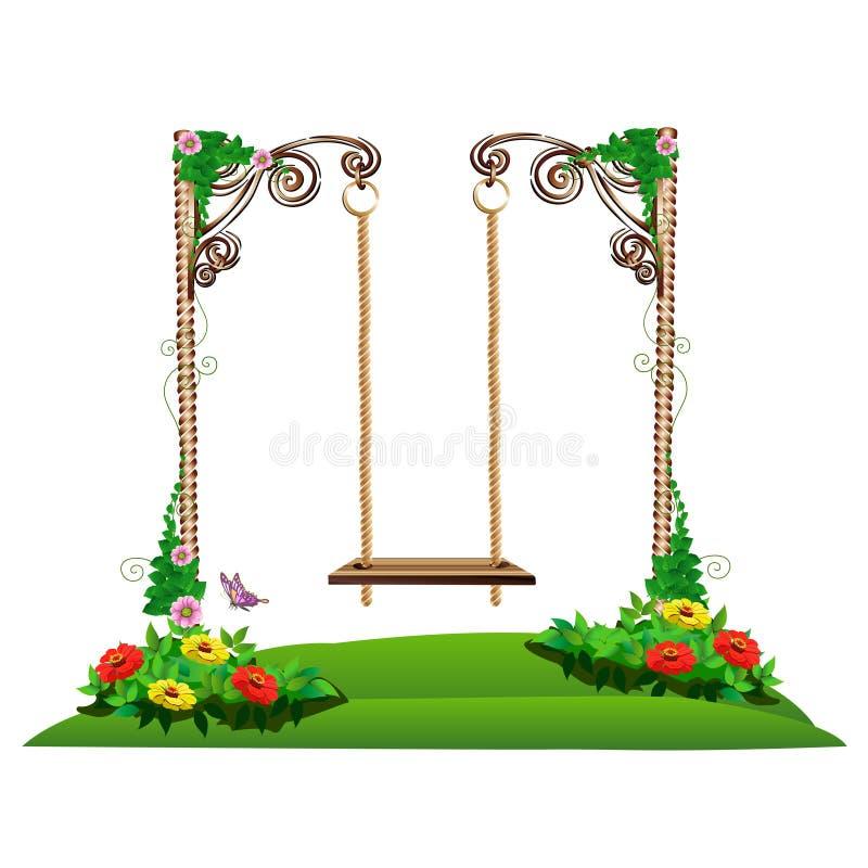 Oscilación de madera en el jardín libre illustration