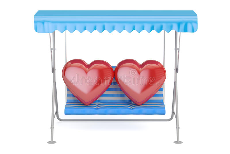 Oscilación del jardín con dos corazones, 3D ilustración del vector