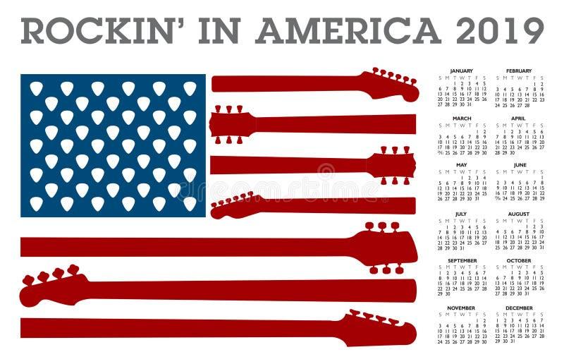 Oscilación en América Un calendario 2019 stock de ilustración