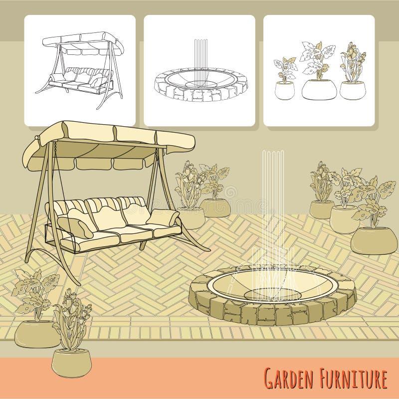 Oscilación, pavimentación, fuente y flores en pote Accesorio del jardín stock de ilustración