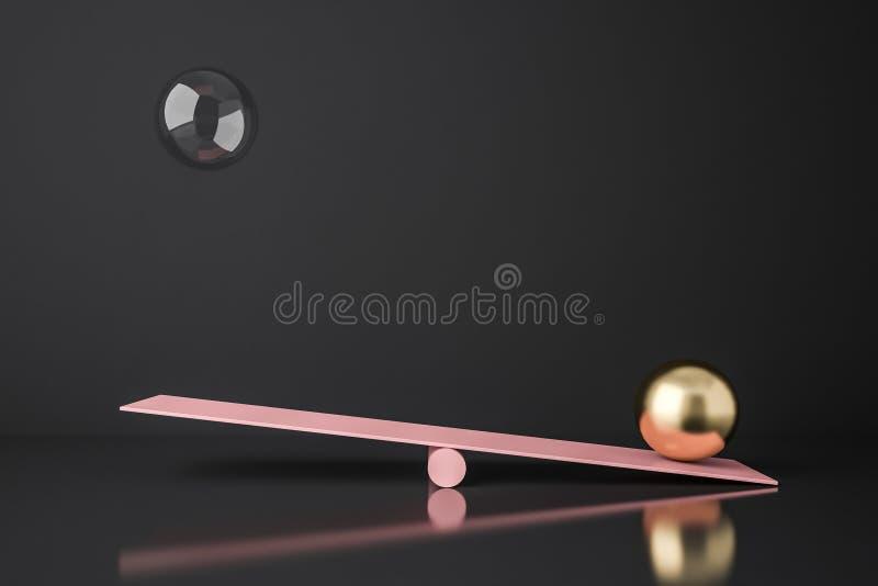 Oscilaci?n rosada con las esferas del vidrio y del oro Balanza libre illustration