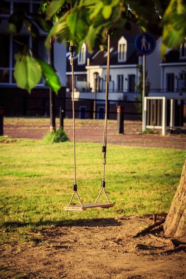Oscilación vacío del niño en un árbol en el jardín foto de archivo