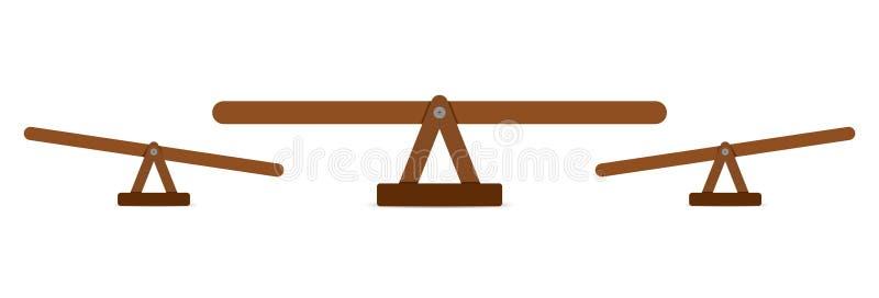 Oscilaci?n o escala de madera de la balanza ilustración del vector