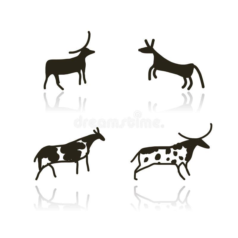 Oscile las pinturas, bosquejo étnico de los animales para su stock de ilustración