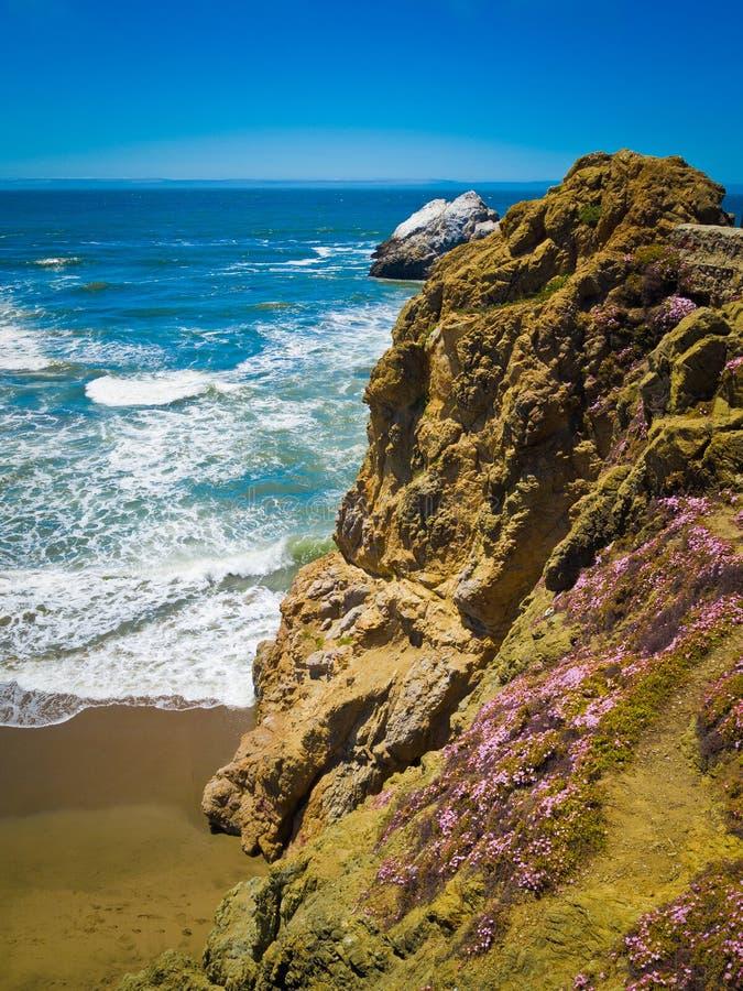 Oscilla le scogliere contro l'oceano blu fotografia stock