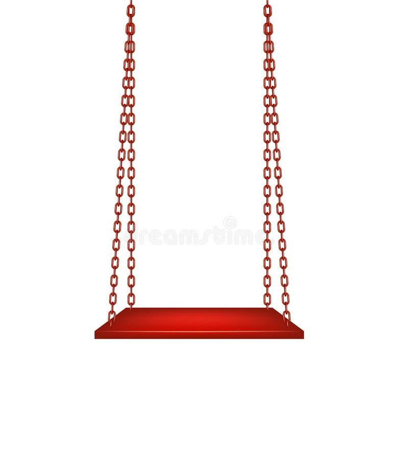 Oscillation accrochant sur les chaînes rouges illustration stock