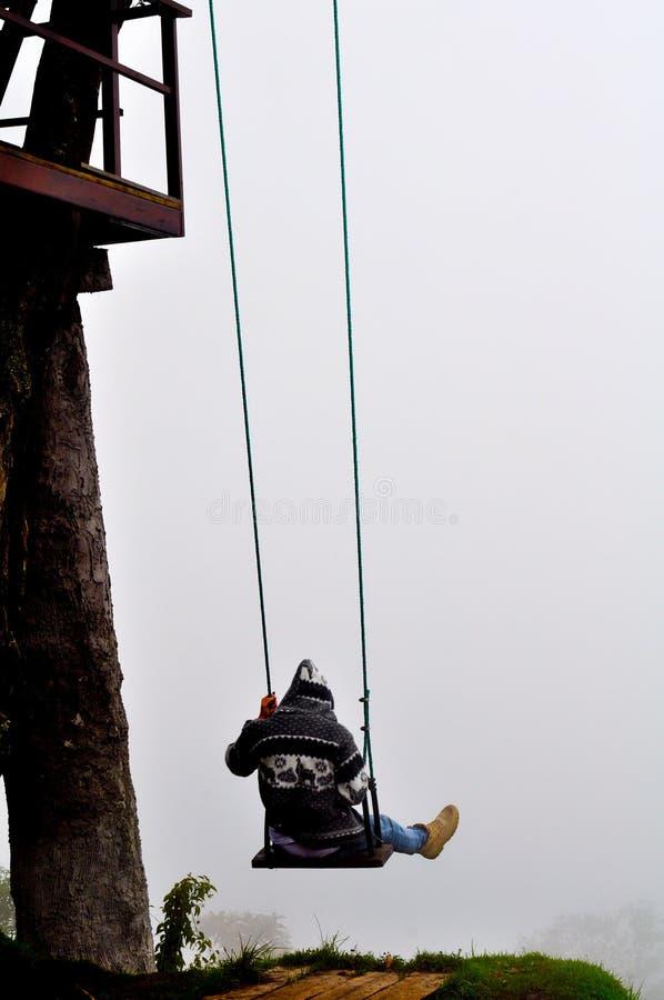 Oscillation au-dessus de l'abîme en Equateur image stock