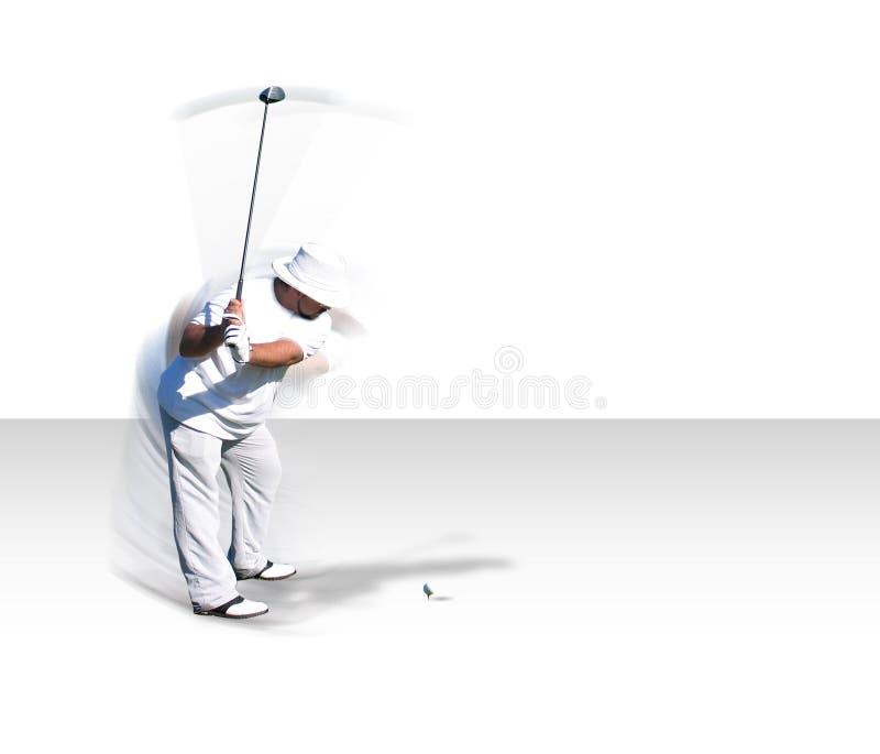 Oscillation de golf dans le mouvement (avec le chemin de clip) images stock