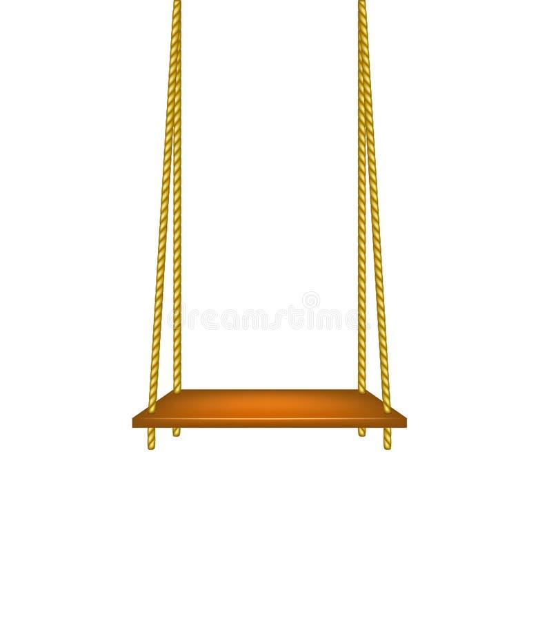 Oscillation en bois accrochant sur des cordes illustration stock