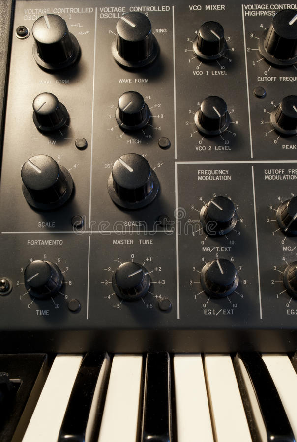 Oscillator section vintage analog synthesizer royalty free stock image