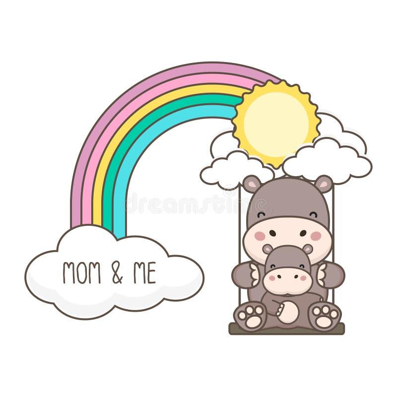 Oscillazione del bambino e dell'ippopotamo su un arcobaleno Illustrazione di vettore della carta di festa della mamma royalty illustrazione gratis