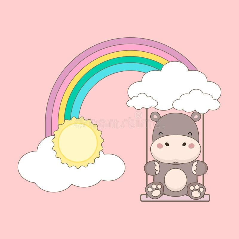 Oscillazione dell'ippopotamo su un arcobaleno illustrazione di stock