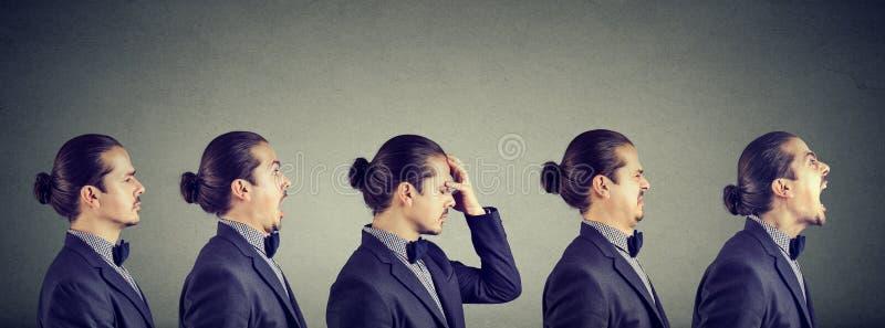 Oscillazione di umore Uomo che esprime le emozioni e le sensibilità negative differenti immagine stock libera da diritti