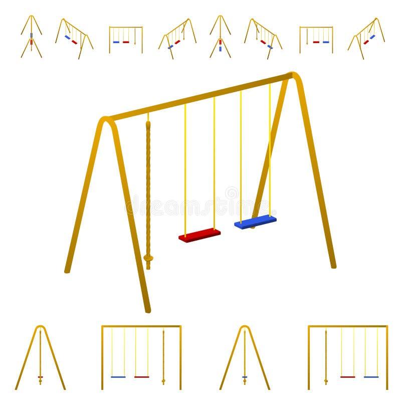 Oscillazioni del ` s dei bambini e scalata della corda Isolato su priorità bassa bianca immagine stock libera da diritti