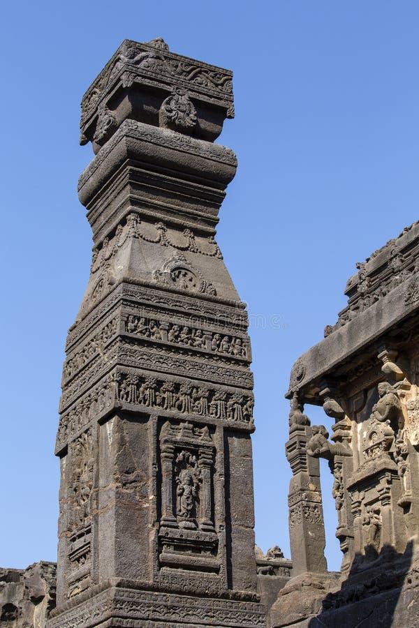 Oscilli il fondo di struttura delle sculture di Ellora Caves in Aurangabad, India Un sito del patrimonio mondiale dell'Unesco in  fotografia stock libera da diritti