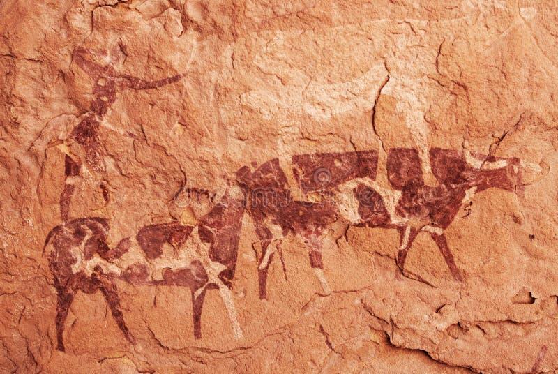 Oscilli le pitture del ` Ajjer, Algeria di Tassili N immagine stock libera da diritti