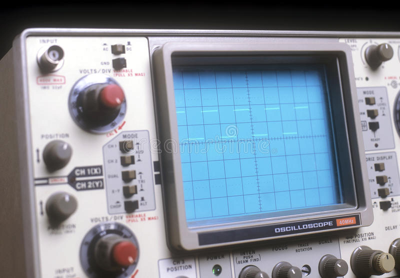 Oscilloscope. The picture shows the front wall of an oscilloscope royalty free stock photo