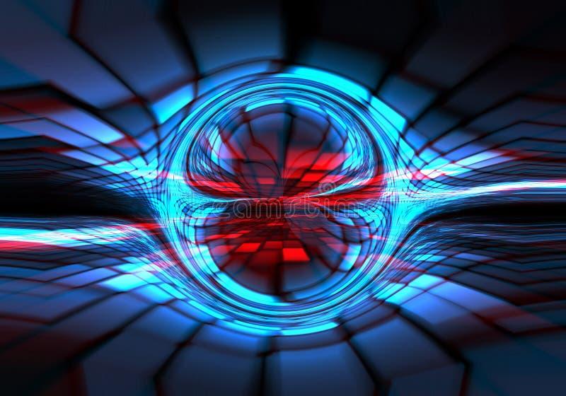 Oscuridad abstracta - azul - formación técnica roja ilustración del vector