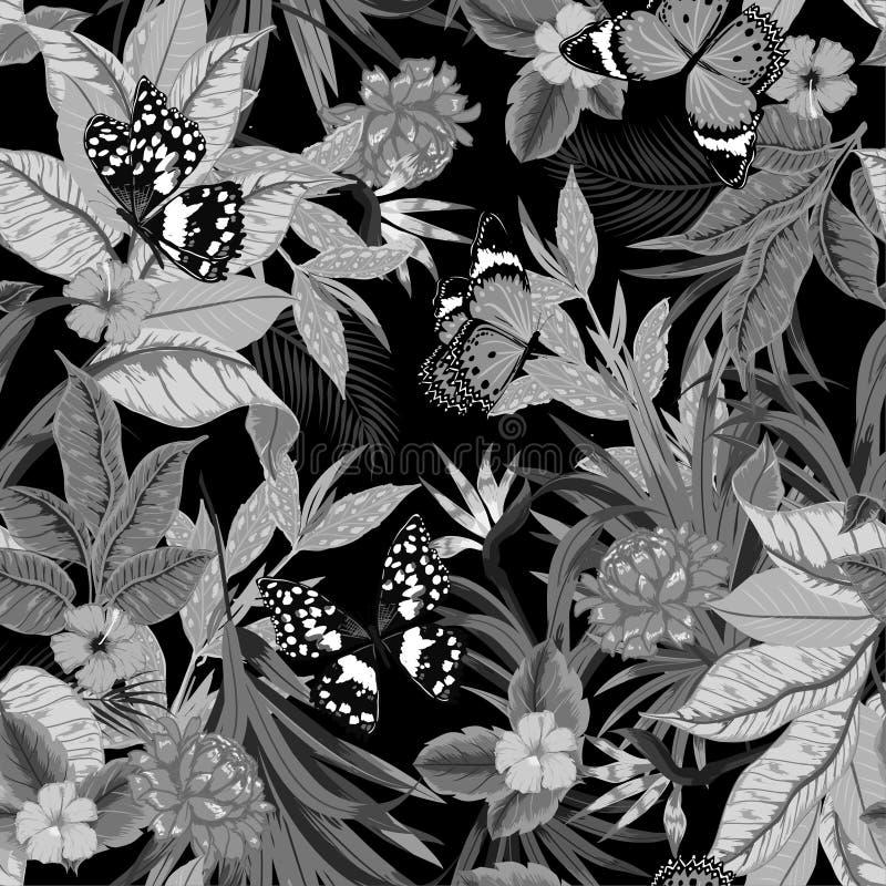 Oscuridad artística hermosa inconsútil del vector blanco y negro monótono libre illustration