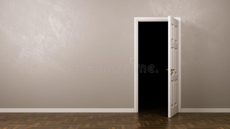 Oscuridad detrás de la puerta ilustración del vector