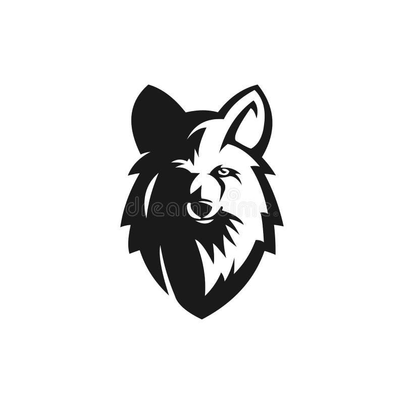 Oscuridad negra masculina del diseño del logotipo del lobo libre illustration