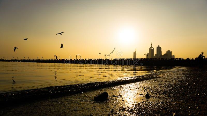 Oscuridad por la playa foto de archivo libre de regalías