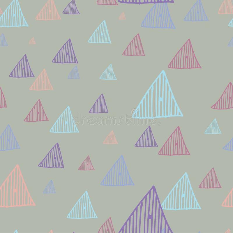 Oscuridad retra inconsútil dibujada mano del fondo del modelo de los triángulos del garabato stock de ilustración