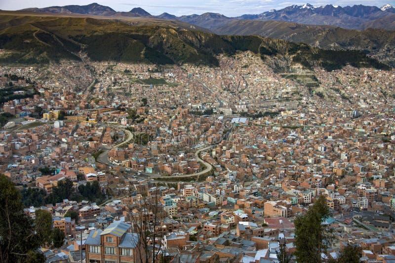 Oscuridad sobre la ciudad de La Paz - Bolivia - Suramérica imagen de archivo libre de regalías
