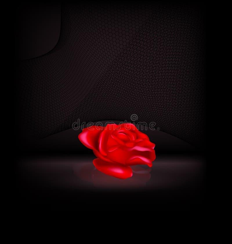 Oscuridad y la rosa roja abstracta con velo negro ilustración del vector