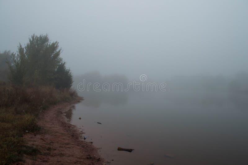 Oscuro, de niebla, mañana del otoño por el lago fotos de archivo