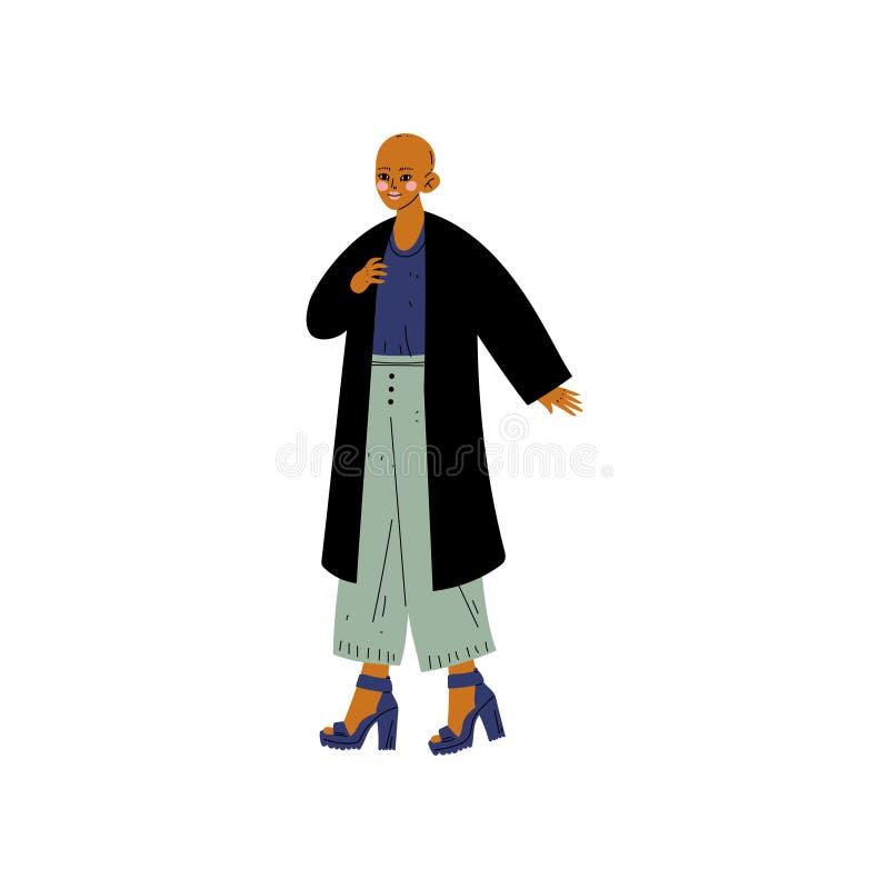 Oscuros pelados se quedan calvo a la mujer joven en ropa casual, aceptación del uno mismo, diversidad de la belleza, ejemplo posi libre illustration