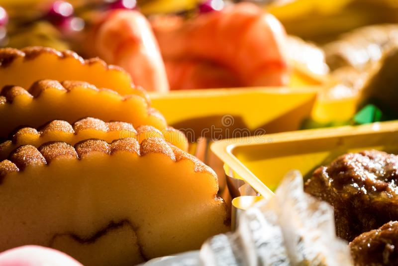 Osechi Ryori are traditional dishes enjoyed by Japanese people on New Year`s day. Osechi are easily recognizable by their special boxes called jubako stock images