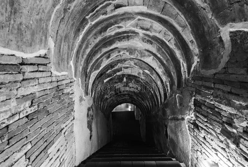 Osedda Thailand den gamla tunnelen av den Wat Umong Suan Puthatham templet i Chiang Mai, Thailand i svart signal royaltyfria foton