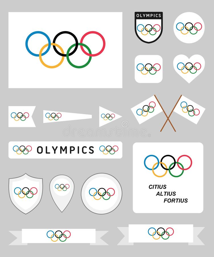 OSflaggauppsättning stock illustrationer