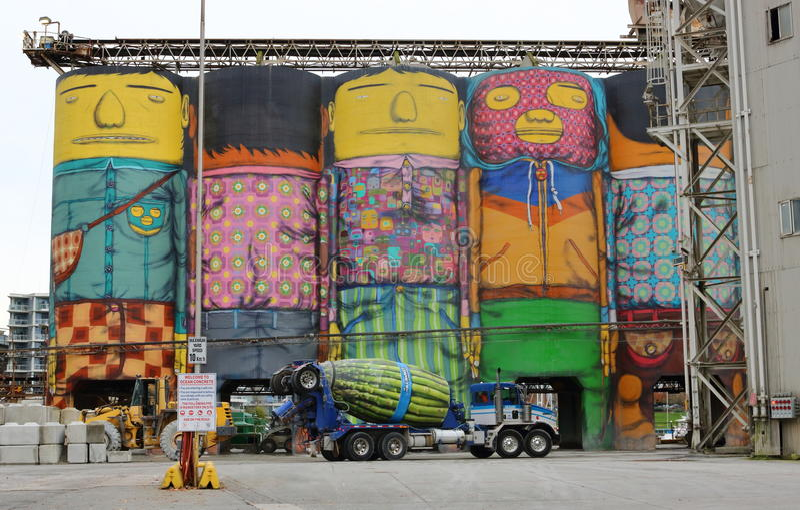 Osgemeos i 3D graffiti Gigantyczna grafika obrazy royalty free