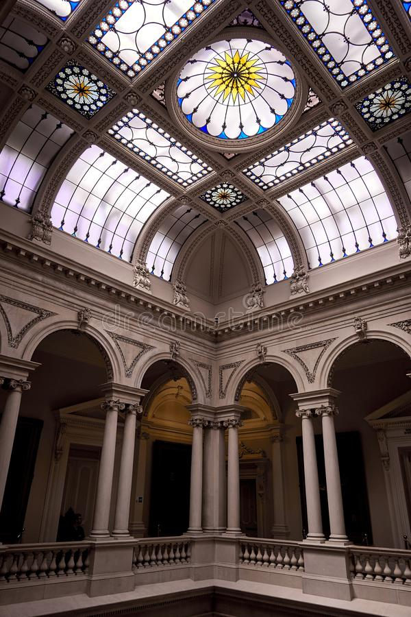 Osgoode hall interior Toronto Ontario Canada. Architecture, interior, building, ceiling, nold, art, column, history, travel, ancient, inside, tourism, nhistoric stock photo