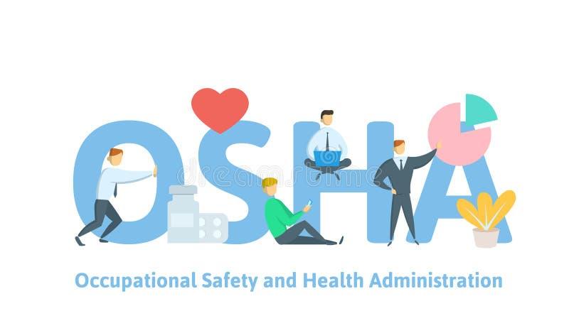 Osha, yrkes- säkerhet och hälsoadministration Begreppstabell med folk, bokstäver och symboler Plan vektor royaltyfri illustrationer
