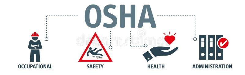 OSHA - Yrkes- säkerhet och vård- administrationsbaner royaltyfri illustrationer